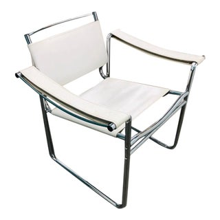 1980s Vintage Lc10 Style White Leather Chair For Sale