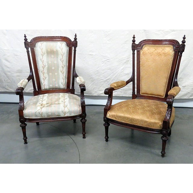 White Louis XVI Style Companion Armchairs - a Pair For Sale - Image 8 of 8