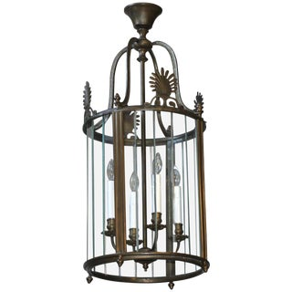 1960s Vintage Italian Neoclassical Style Bronze Hall Lantern/Pendant For Sale