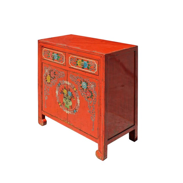 2010s Chinese Distressed Orange Red Flower Graphic Table Cabinet For Sale - Image 5 of 8