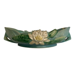 1940's Roseville Usa Water Lily Pottery Bowl 443-12 For Sale