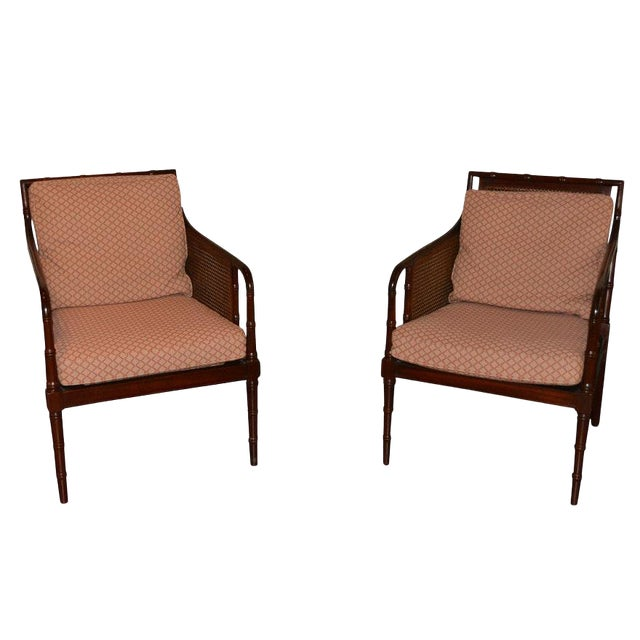 1970s Vintage Hickory Chair Company Cane & Mahogany Armchairs- a Pair For Sale