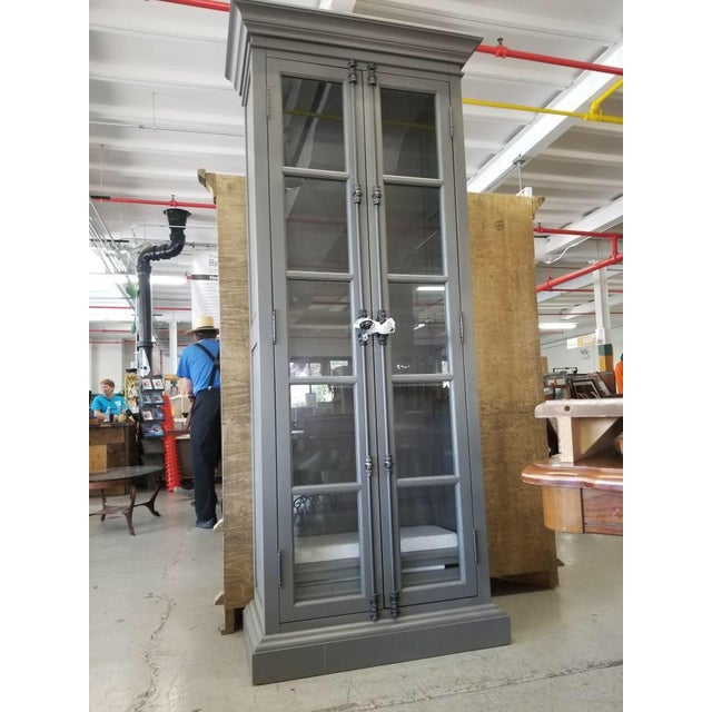 Metal French Restoration Hardware Casement Narrow Double Glass Door Cabinet in Distressed Grey For Sale - Image 7 of 8