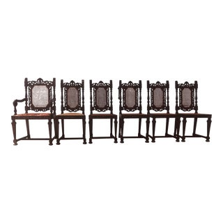 19th Century Hand Carved Dining Chairs- Set of 6 For Sale