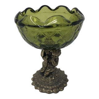 Crystal and Brass Cherub Compote Epergne For Sale
