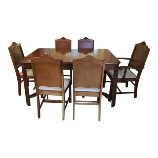 Art Deco Dining Room Table W/ Leaf & Chairs - Set of 7