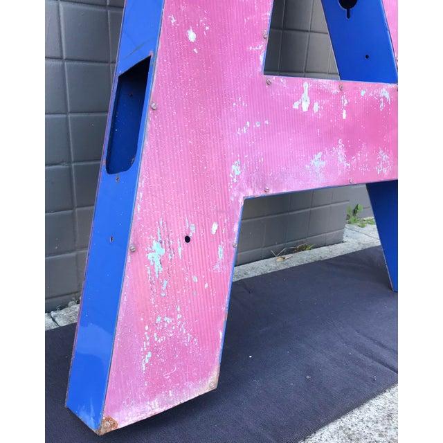 """Large Vintage Blue & White Enamel Metal """"L"""" Building Signage For Sale - Image 12 of 12"""