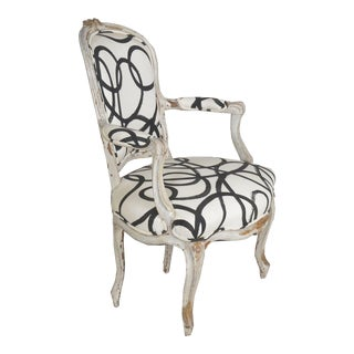 French Louis XV Period Gray Painted Antique Fauteuil Arm Chair, 18th Century For Sale