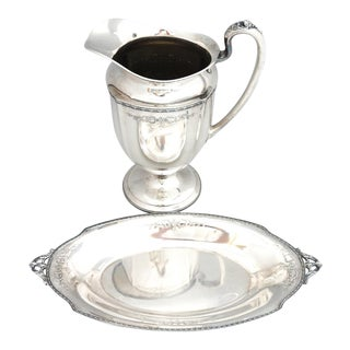 """Homan Silver """"Louisiana"""" Federal Style Water Pedestal Pitcher and Bread Basket - a Pair For Sale"""