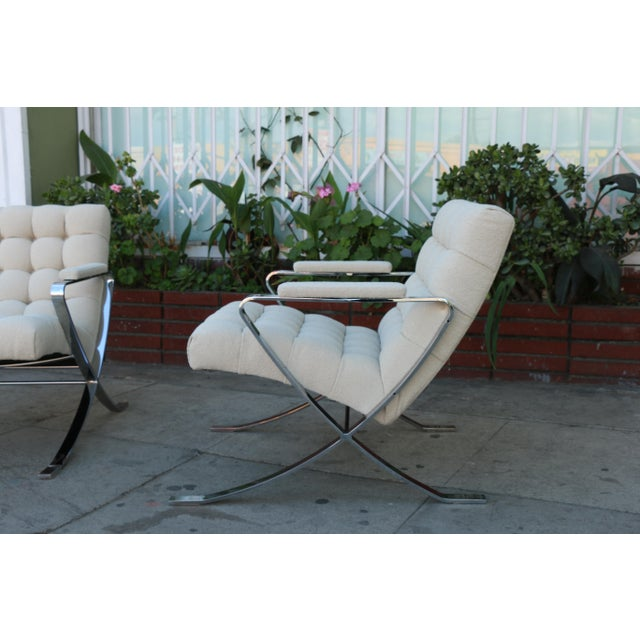 Steel Chrome Lounge Chairs inspired by Milo Baughman For Sale In Los Angeles - Image 6 of 13