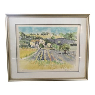 Original French Watercolor Painting For Sale