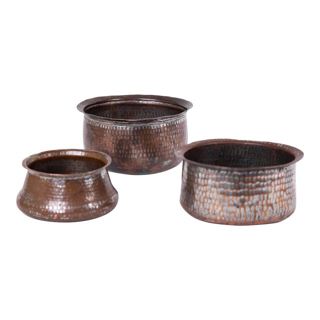 Trio of Indian Hand Wrought Copper Vessels - Set of 3 For Sale