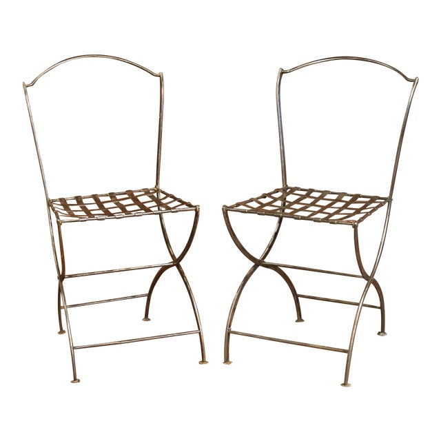 19th Century French Polished Iron Bistro Chairs From Paris - a Pair For Sale