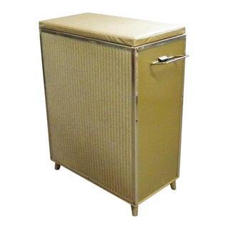 Vintage Mid Century Gold Clothes Hamper For Sale