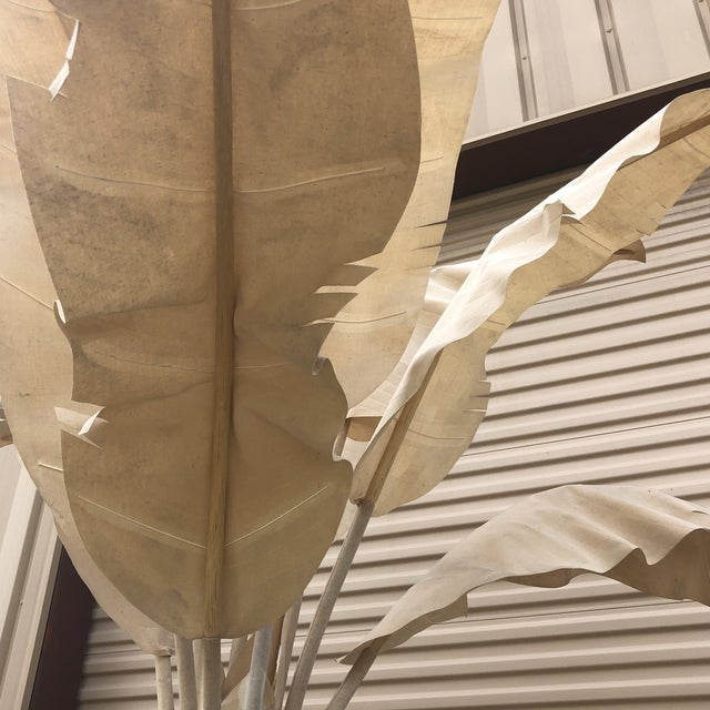 Boho Chic Large Linen Banana Tree With Palm Leaves For Sale - Image 3 of 9