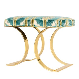 "Karl Springer ""J M F Curved Bench"" in Brass For Sale"