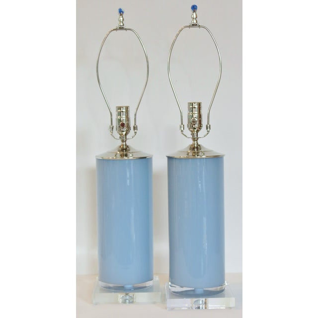 Silver Fox Blue Cylinder Glass Lamps - A Pair - Image 3 of 6