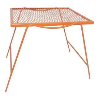 1970s Mid Century Modern Burnt Orange Metal Patio Table