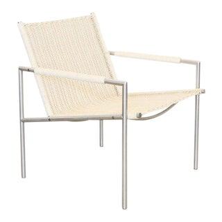 Martin Visser Easy Chair, White Woven Rattan 1960 For Sale