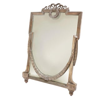 1930's Silver Plated Vanity Mirror For Sale
