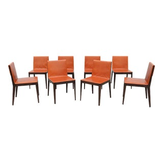 B&b Italia Antonio Citterio Brown Leather and Oak El Dining Chairs - Set of 8 For Sale