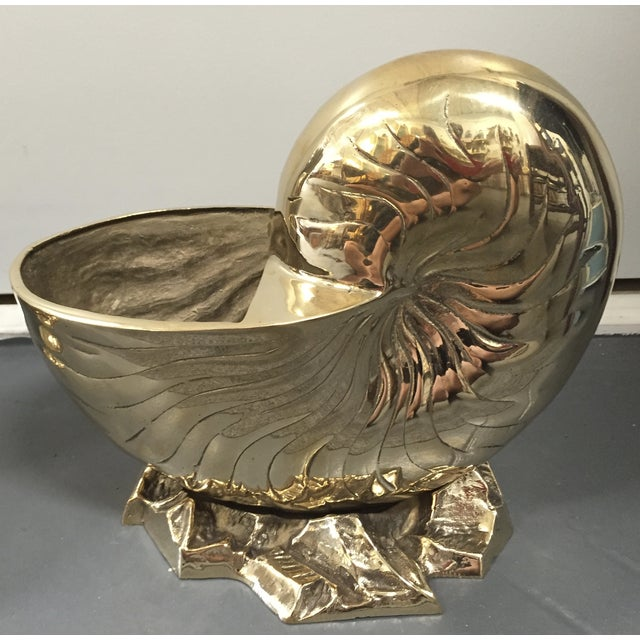 Vintage Brass Nautilus Shell Planters - A Pair - Image 6 of 8