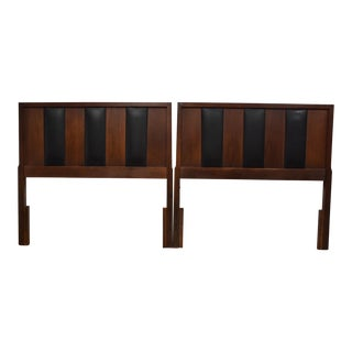 Walnut & Black Vinyl Twin Headboards- a Pair