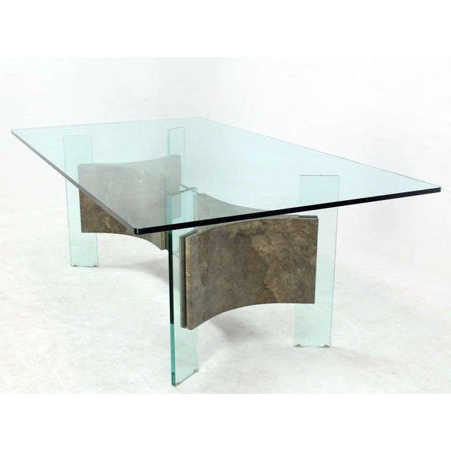 Superb MidCentury Modern GlassTop And Base Dining Or Conference - Mid century modern conference table