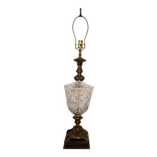 Hollywood Regency Lead Crystal and Brass Table Lamp Western Germany For Sale