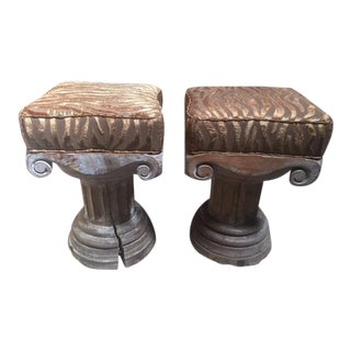 1900s Carved Wood Capital Benches With Tiger Stripe Upholstery - a Pair