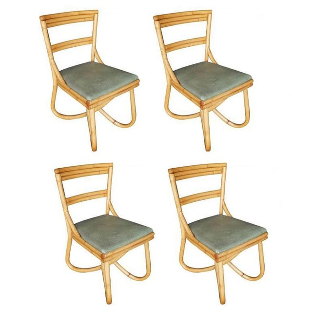 Boho Chic Mid-Century Loop Leg Rattan Dining / Side Chairs - Set of 4 For Sale - Image 3 of 3