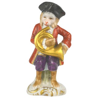 Antique Porcelain Monkey Musician, from Germany, Red Coat For Sale