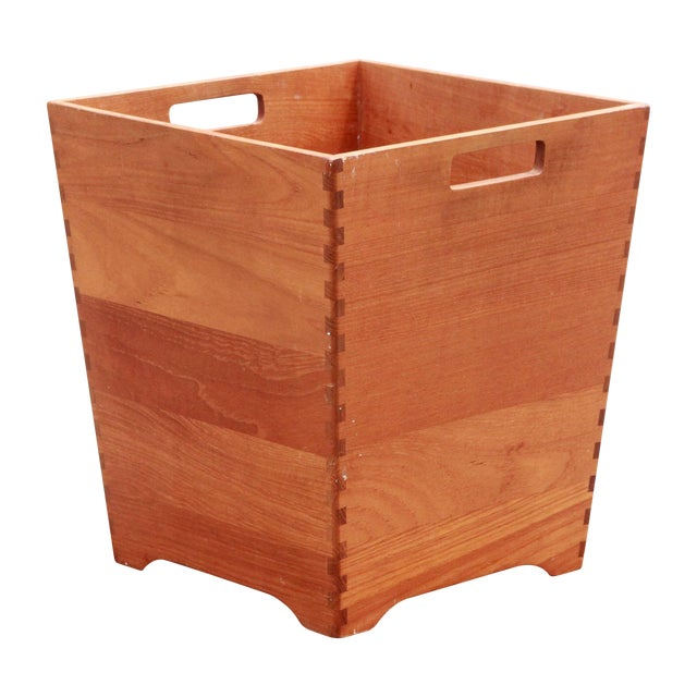 Mid Century Danish Modern Solid Teak Waste Basket / Trash Bin - Image 1 of 7