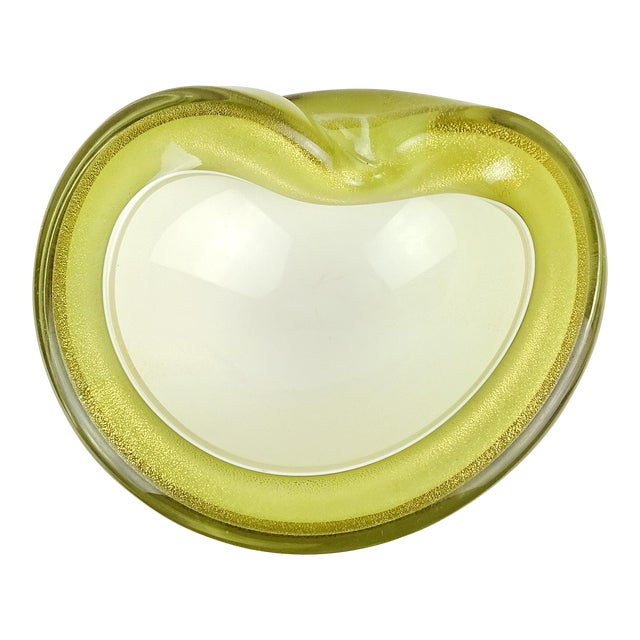 Barbini Murano Olive Green Gold Italian Art Glass Vintage Mid Century Decorative Bowl Dish For Sale