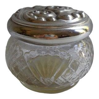 Vintage Avon Silverplated Crystal Cream Jar For Sale
