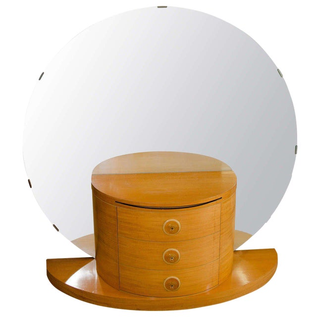 ART DECO VANITY OR DRESSING TABLE WITH LARGE ROUND MIRROR For Sale