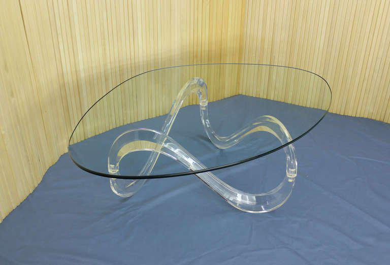 Kidney Shaped Glass Top Lucite Base Coffee Table   Image 8 Of 8