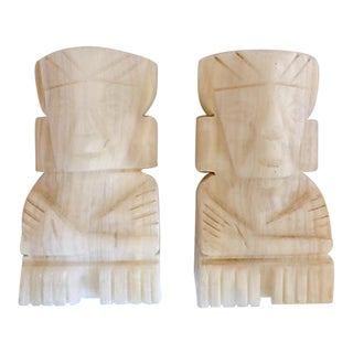 Vintage Pair of Carved Aztec Onyx Stone Bookends For Sale