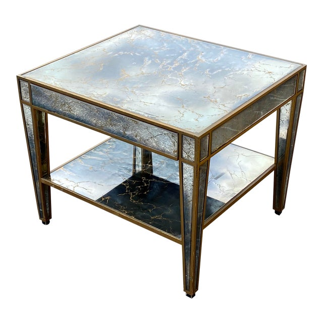 Hollywood Regency Mirrored End Table For Sale
