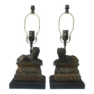 1880s Cast Iron Lions Lamps - a Pair