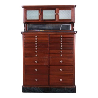 Exceptional Antique 22 Drawer Mahogany Dental Cabinet, 1929 For Sale