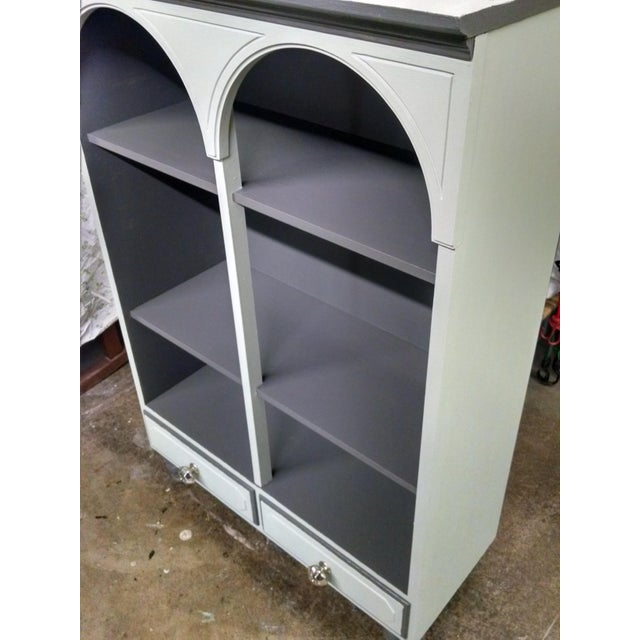 Vintage Grey & Pale Green Bookcase - Image 5 of 5