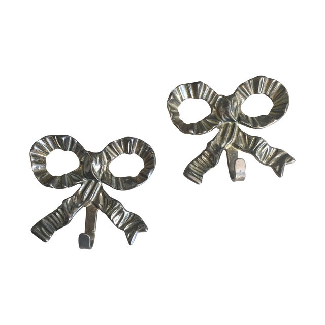 French Art Nouveau Brass Bow Hooks - Pair - Image 1 of 3