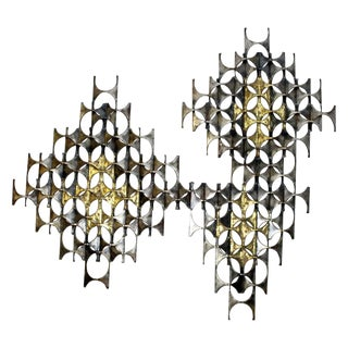 Mid-Century Modern Abstract Brutalist Mixed Metal Wall Sculpture Weinstein Era For Sale