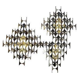 Mid-Century Modern Brutalist Mixed Metal Abstract Wall Sculpture Weinstein Era For Sale