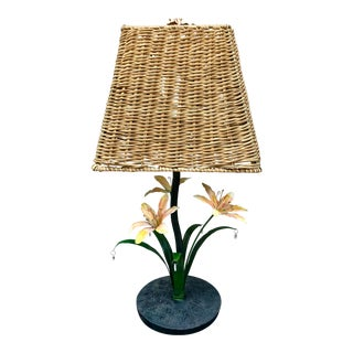 1970s Toleware Metal Lilies and Wicker Lamp For Sale