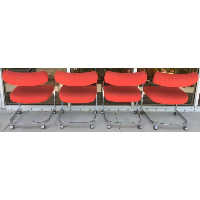DIA - Design Institute America Dia Chairs on Casters - Set of 4 For Sale - Image 4 of 8