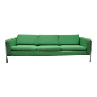 Mid Century Modern Milo Baughman Style Tubular Chrome Frame Green 3 Seat Sofa For Sale