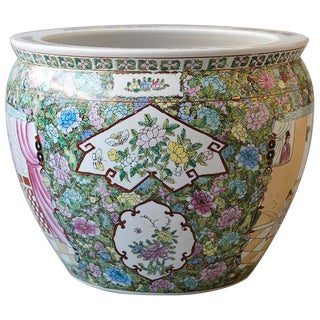 20th Century Chinese Hand-Painted Fish Bowl Planter or Jardiniére For Sale