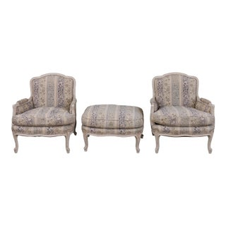1970s Vintage French Bergere Chairs & Ottoman- Set of 3 For Sale